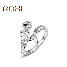 2017 ROXI Brand Sparkling Fish Filled Crystal Rings Rose Gold Color Wedding Jewelry Romantic Mother's Gift for Women