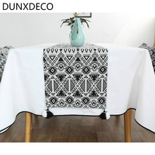 DUNXDECO Modern Nordic White Black Art Geometric Fringe Fabric Table Runner Tablecloth Kitchen Textile Table Cover Party Decor