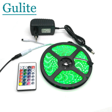 IP65 Waterproof 5050 RGB 5M LED Strip Set + 24Keys IR Controller + 12V 3A Power Adapter Flexible Tape Home Decoration Lighting