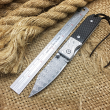 Newest Damascus Folding Blade Knife,Carbon Fiber Handle Mini Tactical Folding Knife,Outdoor Pocket Knives,EDC Gift Camping Tools