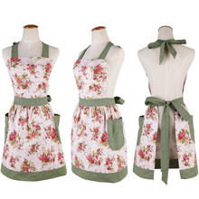 1Pcs Pink Flower Green Plaids Apron Woman Adult Bibs Home Cooking Baking Coffee Shop Cleaning Aprons Kitchen   Accessories 46034
