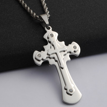 2016 New popular men's jewelry stainless steel cross necklace pendant jewelry in Europe and America (hh0930)(China)