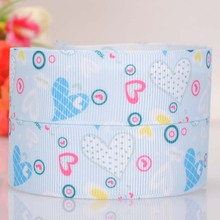 High quality printed ribbon 50 yards 25mm sky blue circle and love Valentine's Day ribbons for crafts 100% polyester single face