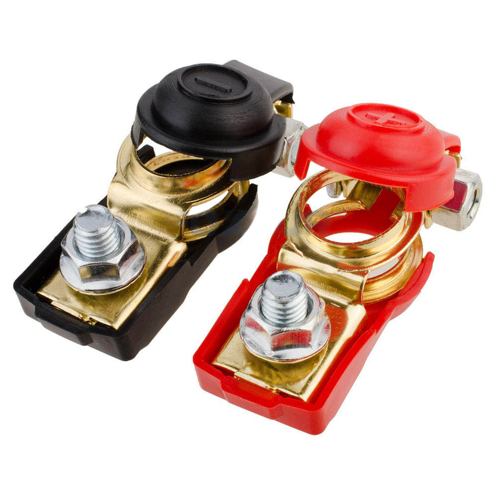 2pc Car Positive/&Negative Heavy Duty Battery Terminal Clip Connector Clamp Brass