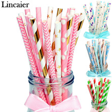 Lincaier 25 Pcs Striped Paper Drinking Straws Wedding Party Decorations Adult Birthday Kids Boy Girl Baby Shower Frozen Supplies