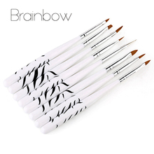 8pcs/set White Zebra Nail Art Brush Set Designs Painting Drawing Dotting DIY Nail Art Pens Professional Salon Manicure Tools(China)