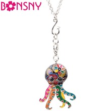 Bonsny Statement Maxi Alloy Enamel Jellyfish Octopus Necklace Pendant Chain Choker 2017 New Ocean Animal Jewelry For Women Girl(China)