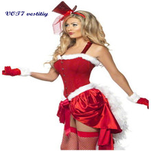 Sexy costume cloth VOT7 vestitiy Lady Women Christmas Red Santa Claus Velvet Costume Outfit Fancy Xmas Dress M Oct 21