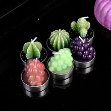 Super Cute! 6Pcs/lot Artificial 3 Colors Grapes Pattern Tea Candles Happy Birthday Candle For Wedding Party Home Decoration