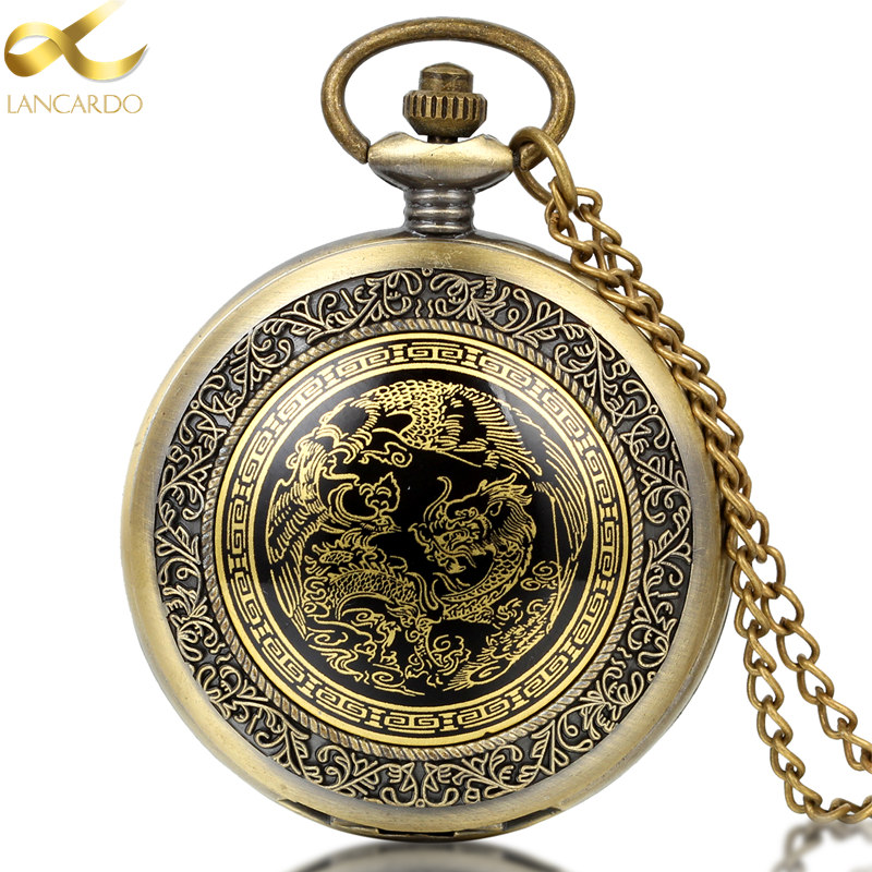 Lancardo New Bronze Angling Quartz Antique Dragon Pocket Watch For Men And Women Necklace Free Chain Gifts Analog Watches Gifts(China (Mainland))