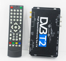 Very good quality HD Car DVB-T2 digital tv USB HDMI HDTV 2 tuner 2 active antenna high speed Car DVB-T2 box, hot