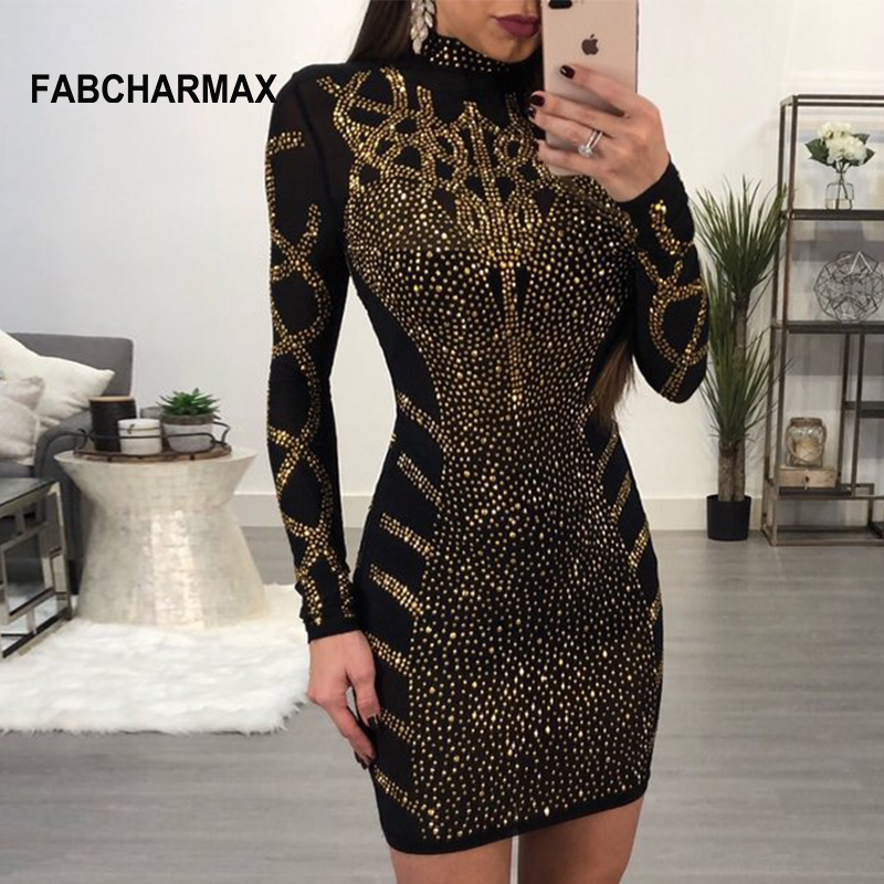 Geometric rhinestones black bodycon dress women fashion long sleeve sheath sexy club dresses new chic nightclub lady party dress Платье