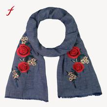 Feitong Hot Sale Winter bandana female snud stole New Women Rose Applique Embroidery Women's Shawl Pashmina Stole Scarf Scarves(China)
