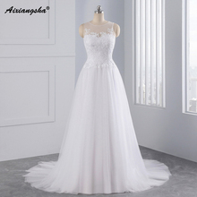 2017 Simple A line Wedding Dresses Sweetheart Spaghetti Straps Sweep Train Lace Bridal Gown Pregnant vestido de noiva(China)