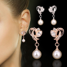 Double Fair Drop/Dangle Earrings Fashion Cubic Zirconia Rose Gold/Silver Color Simulated Pearl Beads Jewelry For Women DFE166