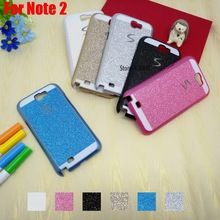 Vintage Luxury Bling Shinning Glitter Hard PC Women Girl Capinha Etui Case Cover For Samsung Galaxy Note 2 II Note2 N7100 Blue