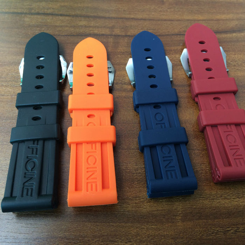 NEW 22mm 24mm 26mm Waterproof Silicone Rubber Watch Strap For PAM ,With Mate Buckle With Original Logo,Free Shiping<br><br>Aliexpress