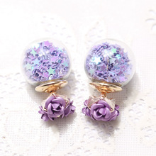 Fashion Korea Rose Flower Wishing Star Pearl Earrings Glass Crystal Ball Double Sided in Stud Earrings For Women Fine Jewelry