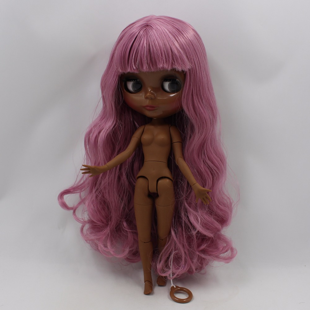 Neo Blythe Doll with Pink Hair, Black skin, Shiny Face & Jointed Body 4