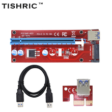 TISHRIC 100pcs New Red VER007S PCI Express Riser Card 1x to 16x PCI-E extender USB 3.0 Cable 15Pin SATA Power for BTC Miner(China)