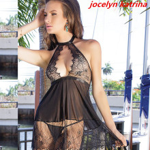 jocelyn katrina brand 2017 Hot women's lingerie sexy pajamas exotic adult lingerie see-through lace nightgown Wholesale