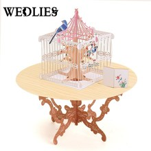3D Greeting Card Pop Up Table Bird Cage Patern Happy Birthday Love Gift Greeting Card Desk Decor Wedding Postcard Gift Craft