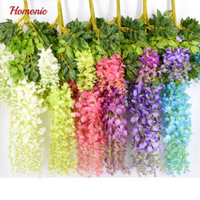 New Plants Wisteria Bouquet Artificial Vine Hanging Silk Party Garden Flower 12 articles silk wisteria flowers