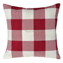 17.7x17.7inches double-sided grid throw cotton pillow case cushion cover home decorative: red