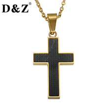 D&Z Gold Color Stainless Steel Cross Pendant Necklace Trendy Black Carbon Fiber Crucifix Necklaces for Religion Gift Jewelry(China)