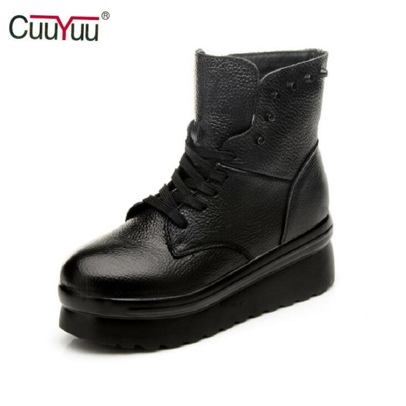 New 2017 Vintage Women Boots Women Leather Winter Boots Warm Plush Autumn Boots, Winter Wedge Shoes, Woman Black Boot Size 35-40<br><br>Aliexpress