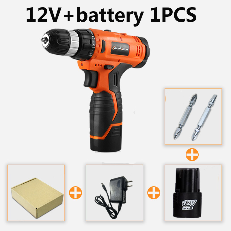 25V electric tools Wireless battery screwdriver  impact drill rechargeable screwdrivers with Battery 2 drill accessories