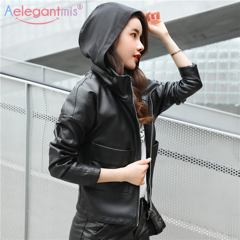 Aelegantmis 2019 Brand New Fashion Hooded Jacket Women Classic Faux Leather Jacket Ladies Hoodies Casual Loose Coat Plus Size spring outfits for kids