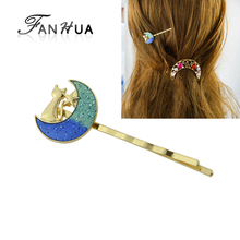 FANHUA Fashion Style Hairwear Gold-Color Barrettes Cat Star Pattern Blue Green Color Moon Shape Hair Accessories For Women