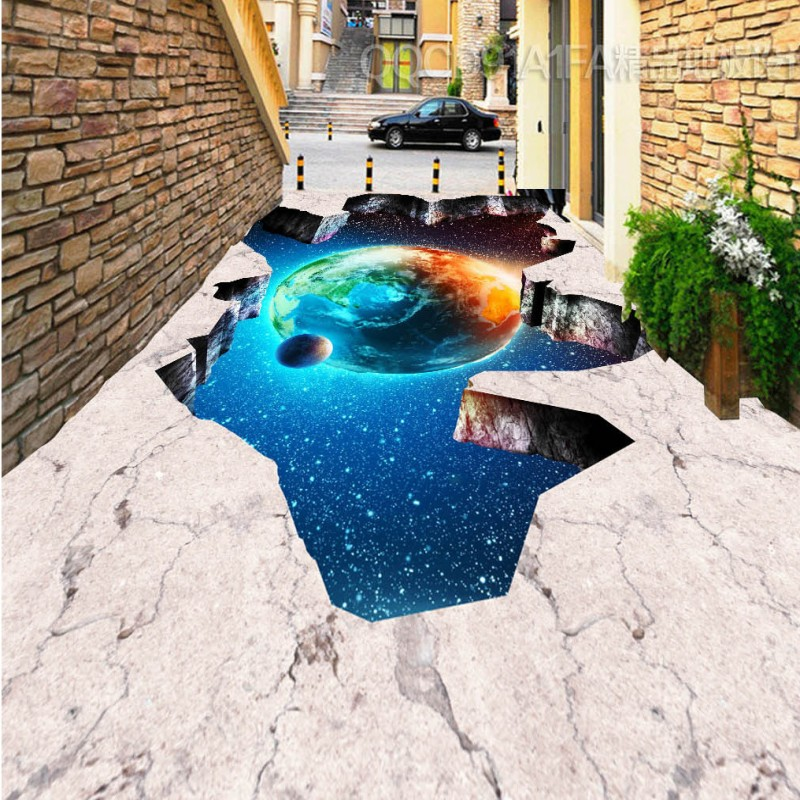 Free Shipping Universe Galaxy Earth 3D outdoor painting self-adhesive waterproof moisture proof bathroom flooring wallpaper<br>