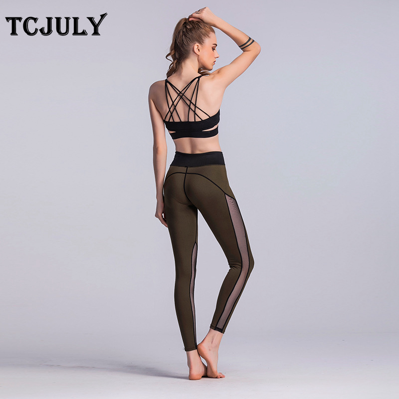 Mesh Pattern Patchwork Leggings, Women's Knitted Push Up Fitness Legging, High Waist, Flex, Stretchy, Casual, Ankle Length Pants 17
