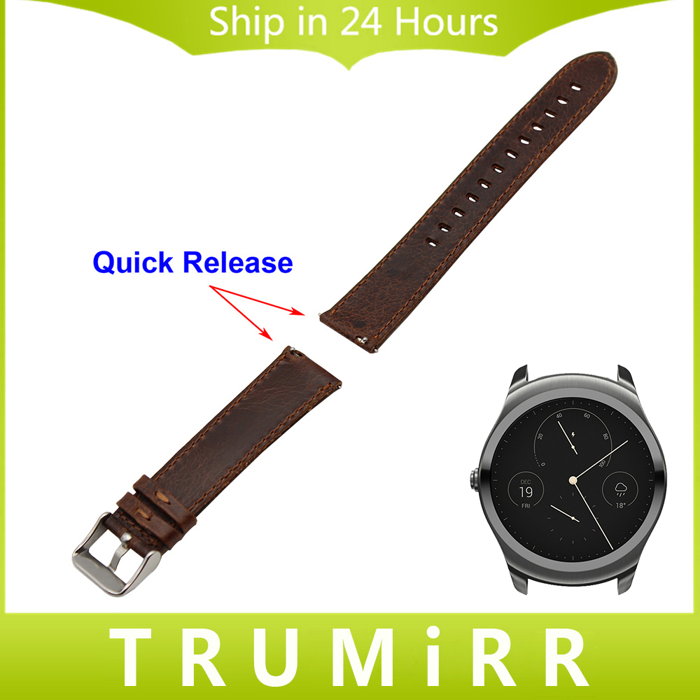 20mm 22mm Genuine Leather Watch Band Quick Release Strap for Ticwatch 1 46mm / Ticwatch 2 42mm Stainless Steel Buckle Belt Brwon<br><br>Aliexpress