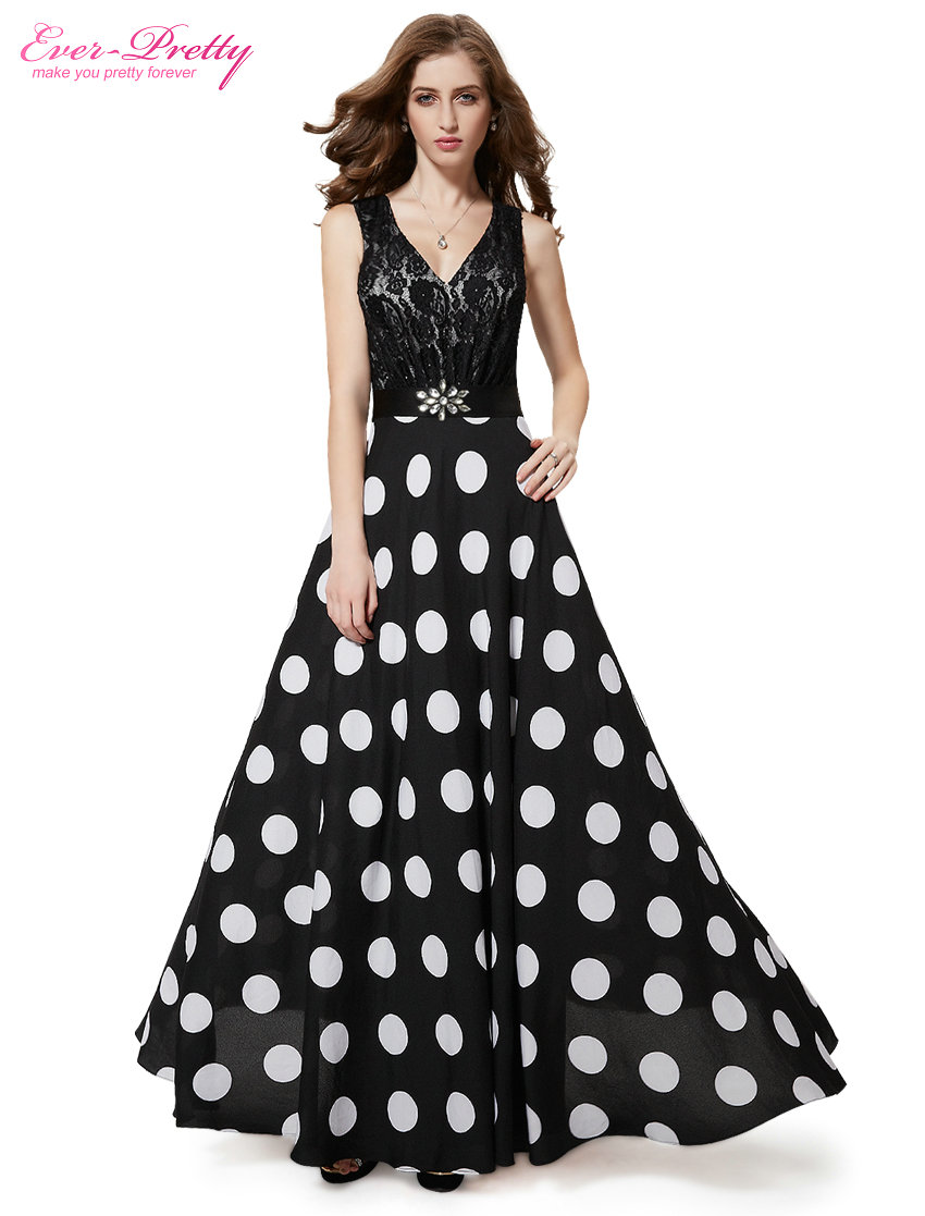 [Clearance Sale] Black Prom Dress Ever Pretty HE08323 2016 New Arrival Women Sexy V-neck Lace And Polka-dotted Vestidos(China (Mainland))