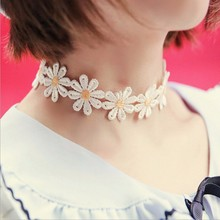 New 1Pc Yellow & White Daisy Flower Choker Chain Necklace Bracelet Headband Boho Beautiful Tattoo Choker Necklace Women Jewelry(China)
