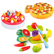 6pcs/set Hot Children Play House Toys Plastic Fruit Vegetables Cake Pizza food cutting toys Kitchen toys set(China)