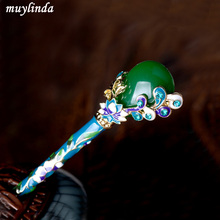 Retro Flower Hair Stick Vintage Cloisonne Enamel Women Hair Stick Stone Hairpins Jewelry(China)