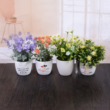 Ceramic Pot 2 Pcs Lavender Ornaments Environmental Potted Flowers Artificial Flowers Set Home Festival Party Decoration Display(China)