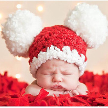 Pom-pom Baby Hat Crochet Pattern Newborn Toddler Beanie Hat Knitted Winter X Xmas Cap Photography Props 1pc H067