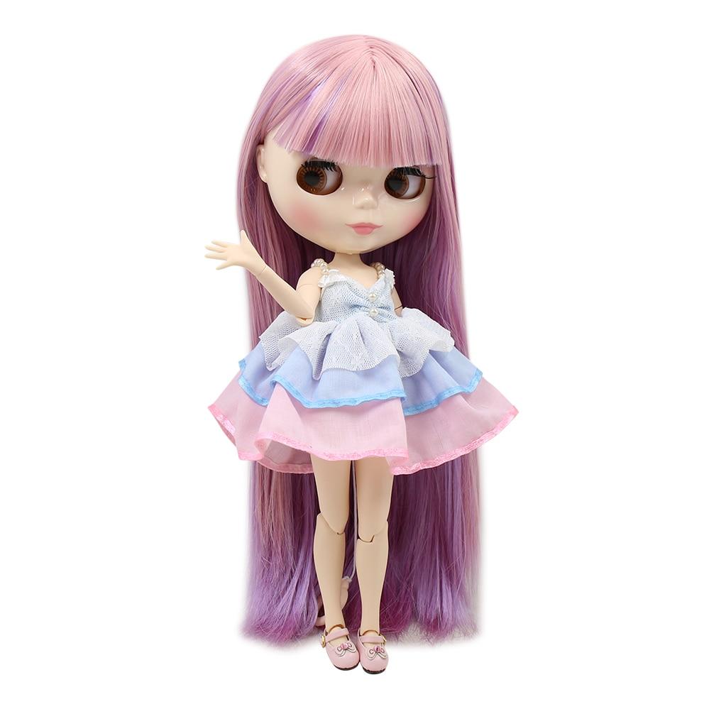 1//6 BJD Dolls White Skin Tone Nude Body Girl Doll with Purple Straight Hair
