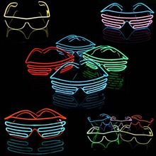 Free shipping 27 Style Select El Wire Fashion Neon LED Light Up Shutter Shaped Glow Rave Costume Party DJ Party Sunglasses(China)