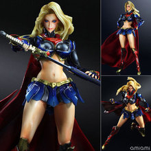 25cm Super Man SuperMan Supergirl Justice League Play Arts PA Action Figure PVC Model Toys Doll Decoration Boys Gift(China)