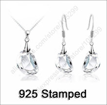 JEXXI Hot Sale Jewely Sets White Crystal Wedding Engagement 925 Sterling Silver Earrings Pendant Necklace Women Christmas Gifts(China)