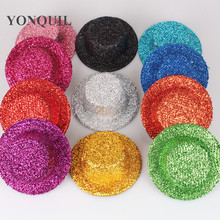 24PCS/LOT 13CM Hen Party Felt Glitter Mini Top Hat Shining Fascinator Hat Base DIY Kid blingling Hat Accessories 11Colors SYB22(China)