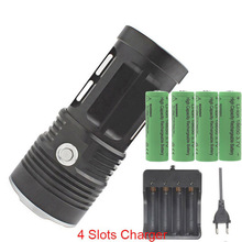 KING 3T6 6T6 7T6 10T6 11T6 FLASHLIGHT 10x XML T6 LED Torch Camp Light+ 4x 18650 8800mah rechargeable battery+charger