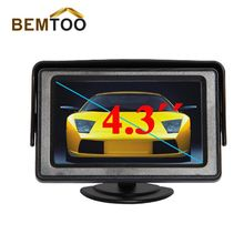 BEMTOO 4.3  Inch LED TFT Rearview Monitor Cars Rear View System For Car Backup Camera DVD VCR,Free Shipping