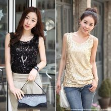 Lady Shining Vest Bling Sequin womens Tank Sleeveless T-Shirt Tops(China)